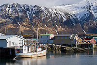 fishing boat at port in small village of Vestresand, Lofoten islands, Norway