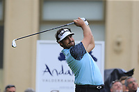 Samuel Del Val (ESP) tees off the 10th tee during Sunday's storm delayed Final Round 3 of the Andalucia Valderrama Masters 2018 hosted by the Sergio Foundation, held at Real Golf de Valderrama, Sotogrande, San Roque, Spain. 21st October 2018.<br /> Picture: Eoin Clarke | Golffile<br /> <br /> <br /> All photos usage must carry mandatory copyright credit (&copy; Golffile | Eoin Clarke)