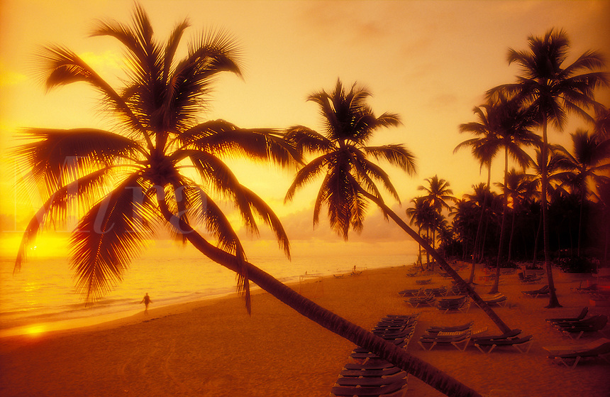 Dominican Republic. Bavaro Beach. sunrise on beach
