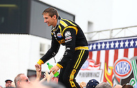 Sept. 2, 2013; Clermont, IN, USA: NHRA top fuel dragster driver Morgan Lucas during the US Nationals at Lucas Oil Raceway. Mandatory Credit: Mark J. Rebilas-