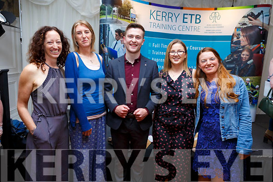 Attending the ETB Graduation ceremony in the Rose Hotel on Thursday evening.<br /> L-r Cathriona O'Shea, Maeve Brosnan, Brendan Fuller (Guest Speaker/Radio Kerry), Stephanie Enfield and Stephanie Nolan.