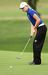 SIOUX FALLS, SD - SEPTEMBER 24:  Megan Mingo from South Dakota State University watches her birdie putt roll to the cup on the seventeenth hole Tuesday morning at Minnehaha Country Club during the Jackrabbit Fall Invitational.  (Photo by Dave Eggen/Inertia)