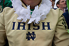 Sept. 20, 2012; A students wears a Hawaiian lei to show his support to Manti Te'o, who is dealing with the recent death of his grandmother and girlfriend, during the Michigan pep rally on the Library Quad. Photo by Barbara Johnston/University of Notre Dame