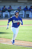 Alex Verdugo (16) of the Rancho Cucamonga Quakes runs to first base during a game against the Inland Empire 66ers at LoanMart Field on September 6, 2015 in Rancho Cucamonga, California. Rancho Cucamonga defeated Inland Empire, 10-6. (Larry Goren/Four Seam Images)