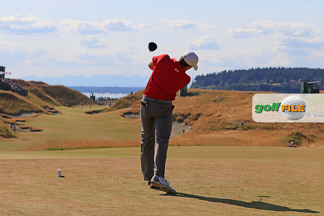 Jordan Speith (USA) takes his putt on the 9th green during Saturday's Round 3 of the 2015 U.S. Open 115th National Championship held at Chambers Bay, Seattle, Washington, USA. 6/21/2015.<br /> Picture: Golffile | Eoin Clarke<br /> <br /> <br /> <br /> <br /> All photo usage must carry mandatory copyright credit (&copy; Golffile | Eoin Clarke)