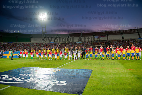 Teams of Hungary and Sweden line up before UEFA EURO 2012 Group E qualifier Hungary playing against Sweden in Budapest, Hungary on September 02, 2011. ATTILA VOLGYI