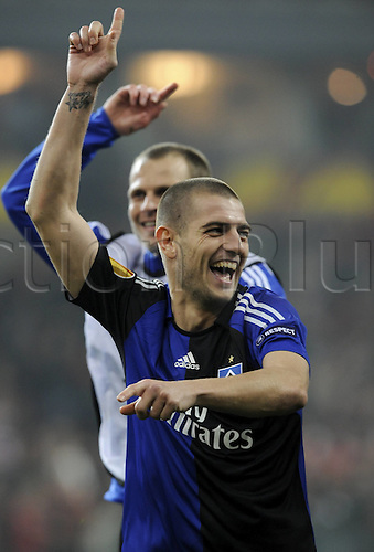 08/04/2010 Europa League Standard Liege v Hamburg. Mladen Petric Hamburg cheering After the Victory against Standard Liege.