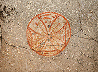 "Pictures & images of Komurlu Church interior fresco of a Maltese Cross,  9th century, the Vadisi Monastery Valley, ""Manastır Vadisi"",  of the Ihlara Valley, Guzelyurt , Aksaray Province, Turkey.<br /> <br /> Kalburlu (St. Epthemios) church dates back to the 9th or 10th century. It is carved out of a single rock massive with rock columns holding up the roof of its church . The arches of Kalburlu (St. Epthemios) church have rich architectural decorated relif sculptures. The naves are connected by rounded arches & there is a baptismal font to the east of the main entrance."