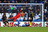 29th February 2020; Cardiff City Stadium, Cardiff, Glamorgan, Wales; English Championship Football, Cardiff City versus Brentford; Junior Hoilett of Cardiff City heads the ball to score his sides first goal making it 1-2 in the the 34th minute
