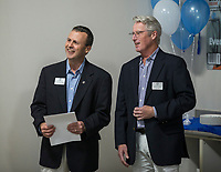 NWA Democrat-Gazette/BEN GOFF @NWABENGOFF<br /> Matt Taliaferro (left), CEO, and Nick Flint, president of the board, with Boys & Girls Club of Benton County speak Thursday, June 6, 2019, during a grand opening for the new Teen Center across the street from the Boys & Girls Club in Rogers.