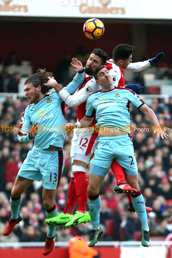 Olivier Giroud of Arsenal wins the header during Arsenal vs Burnley, Premier League Football at the Emirates Stadium on 22nd January 2017