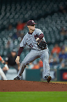 Mississippi State Bulldogs starting pitcher Jacob Billingsley (45) in action against the Sam Houston State Bearkats during game eight of the 2018 Shriners Hospitals for Children College Classic at Minute Maid Park on March 3, 2018 in Houston, Texas. The Bulldogs defeated the Bearkats 4-1.  (Brian Westerholt/Four Seam Images)