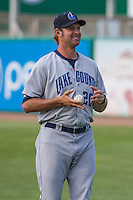 Lake County Captains pitching coach Steve Karsay (20) prior to a Midwest League game against the Wisconsin Timber Rattlers on June 3rd, 2015 at Fox Cities Stadium in Appleton, Wisconsin. Wisconsin defeated Lake County 3-2. (Brad Krause/Four Seam Images)