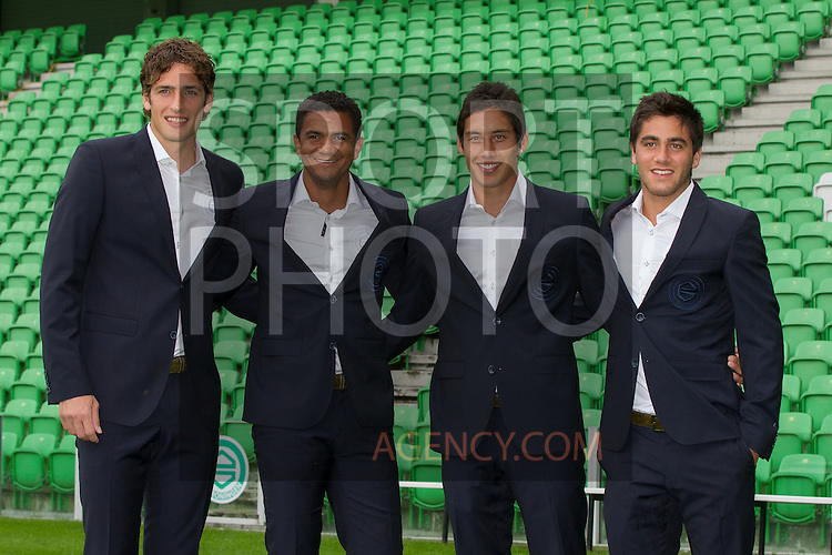 30-07-2013, Persdag,  Eric Botteghin of FC Groningen, Luciano da Silva of FC Groningen, David Texeira of FC Groningen, Filip Kostic of FC Groningen, (L-R)