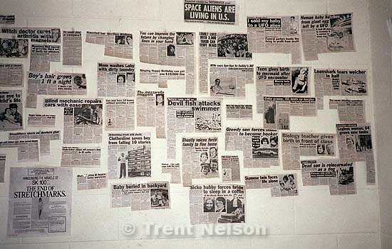 clips from the Weekly World News and Sun tabloids on college apartment wall.; Rexburg, ID<br />