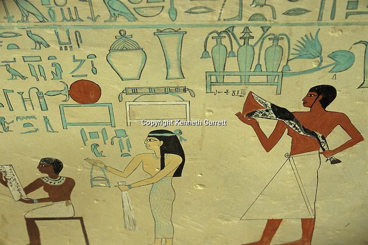 Painting from tomb of Ashait, wife of Pharaoh Nebhepetre Mentuhotep II, Deir Al-Bahari, Egypt, 11th dynasty, Middle Kingdom, Egypt of the Pharaohs