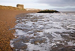 London Clay wave cut platform exposed at low tide on the beach at East Lane, Bawdsey, Suffolk, England