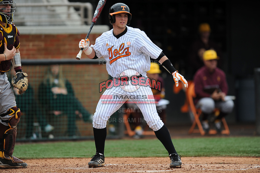 Tennessee Volunteers catcher David Houser #22 awaits a pitch  during a game against  the Arizona State Sun Devils at Lindsey Nelson Stadium on February 23, 2013 in Knoxville, Tennessee. The Volunteers won 11-2.(Tony Farlow/Four Seam Images).