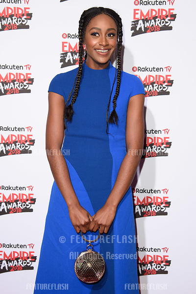 Simona Brown arriving for the Empire Awards 2018 at the Roundhouse, Camden, London, UK. <br /> 18 March  2018<br /> Picture: Steve Vas/Featureflash/SilverHub 0208 004 5359 sales@silverhubmedia.com