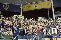 CARSON, CA – April 2, 2011: LA Galaxy fans celebrating a goal during the match between LA Galaxy and Philadelphia Union at the Home Depot Center, March 26, 2011 in Carson, California. Final score LA Galaxy 1, Philadelphia Union 0.