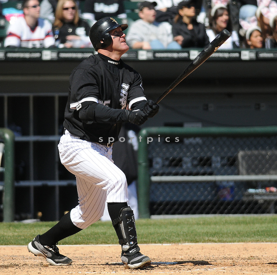 JIM THOME, of the Chicago White Sox in action  during the White Sox  game against the Minnesota Twins  on April 12, 2009 in Chicago, IL  The White Sox beat the Twins 6-2...