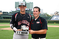 August 8, 2009:  Third Baseman Nick Castellanos (18) of the Baseball Factory team is awarded the Silver Spikes award after the Under Armour All-America event at Wrigley Field in Chicago, IL.  Photo By Mike Janes/Four Seam Images