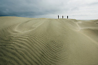 group of people walking on sand dunes