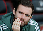 Juan Mata of Manchester United watches the warm up from the bench during the premier league match at the Vitality Stadium, Bournemouth. Picture date 18th April 2018. Picture credit should read: David Klein/Sportimage