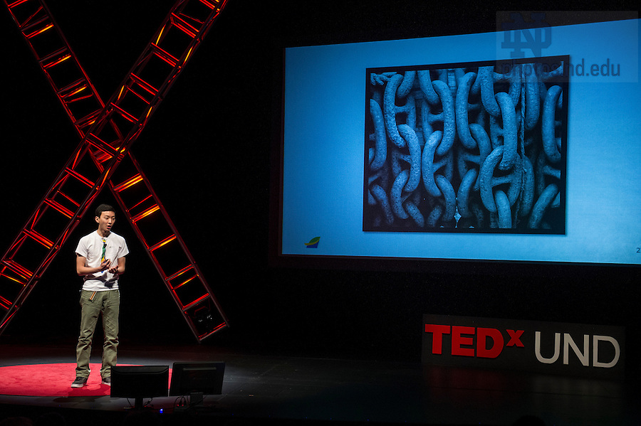 """Jan. 20, 2014; Peter Keon Woo delivers his talk titled, The Value of a Paycheck and the Urgency of Now,"""" during the TEDxUND 2014 event in the Debartolo Performing Arts Center. Photo by Barbara Johnston/University Photographer"""