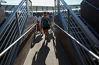 NEW YORK, NY AUG 27: A woman visits the new Grandstand stadium is seen from outside the USTA Billie Jean King National Tennis Center in Flushing Meadows, on August 27, 2016 in New York City. (Photo by VIEWpress)