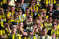 Fans in the grandstand during the A-League football match between Wellington Phoenix and Perth Glory at Westpac Stadium, Wellington, New Zealand on Sunday, 20 March 2016. Photo: Dave Lintott / lintottphoto.co.nz