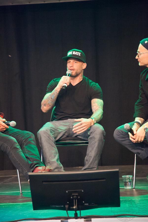 Tattoo. Snapshots from Copenhagen Ink Festival 2013. Felix Smith, Ami James and Christian Stadil introducing Tattoodo