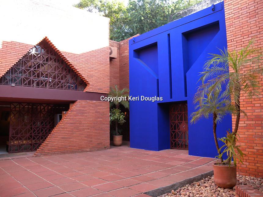Museo del Barro entrance, blue door, Asuncion, Paraguay. A gem of a museum.