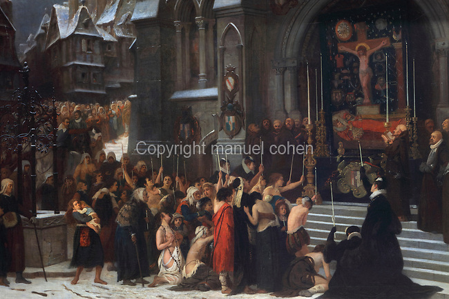 Funeral procession and ceremony in honour of the Duc de Guise assassinated in Blois, detail, oil painting on canvas, 1868, by Arnold Scheffer, 1839-73, in the Salle du Conseil or Council Room, the site of the assassination of the Duc de Guise in 1588, on the second floor of the Francois I wing, built early 16th century in Italian Renaissance style, at the Chateau Royal de Blois, built 13th - 17th century in Blois in the Loire Valley, Loir-et-Cher, Centre, France. The murder is retold in several 19th century paintings hung in the room. The chateau has 564 rooms and 75 staircases and is listed as a historic monument and UNESCO World Heritage Site. Picture by Manuel Cohen