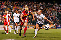 Western New York Flash defender Amy Barczuk (22) and Sky Blue FC defender Kendall Johnson (5). The Western New York Flash defeated Sky Blue FC 2-0 during a National Women's Soccer League (NWSL) semifinal match at Sahlen's Stadium in Rochester, NY, on August 24, 2013.