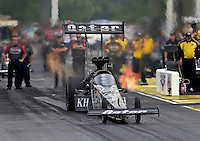 May 10, 2013; Commerce, GA, USA: NHRA top fuel dragster driver Shawn Langdon during qualifying for the Southern Nationals at Atlanta Dragway. Mandatory Credit: Mark J. Rebilas-
