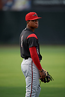 Richmond Flying Squirrels Jalen Miller (1) during warmups before an Eastern League game against the Bowie Baysox on August 15, 2019 at Prince George's Stadium in Bowie, Maryland.  Bowie defeated Richmond 4-3.  (Mike Janes/Four Seam Images)