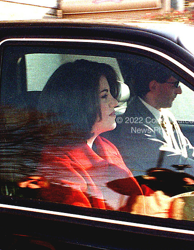 Washington, DC - February 26, 1998 -- Monica Lewinsky leaves the Watergate Apartments this morning on the way to the Cosmos Club to meet with her lawyer..Credit: Ron Sachs / CNP