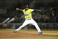 Pitcher Ezequiel Zabaleta (4) of the Columbia Fireflies delivers a pitch in a game against the Charleston RiverDogs on Saturday, April 6, 2019, at Segra Park in Columbia, South Carolina. Columbia won, 3-2. (Tom Priddy/Four Seam Images)