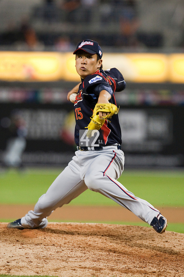 19 March 2009: #15 Masahiro Tanaka of Japan pitches against Korea during the 2009 World Baseball Classic Pool 1 game 6 at Petco Park in San Diego, California, USA. Japan wins 6-2 over Korea.
