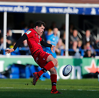12th January 2020; RDS Arena, Dublin, Leinster, Ireland; Heineken Champions Cup Rugby, Leinster versus Lyon Olympique Universitaire; Jean-Marcellin Buttin of Lyon kicks the ball clear - Editorial Use