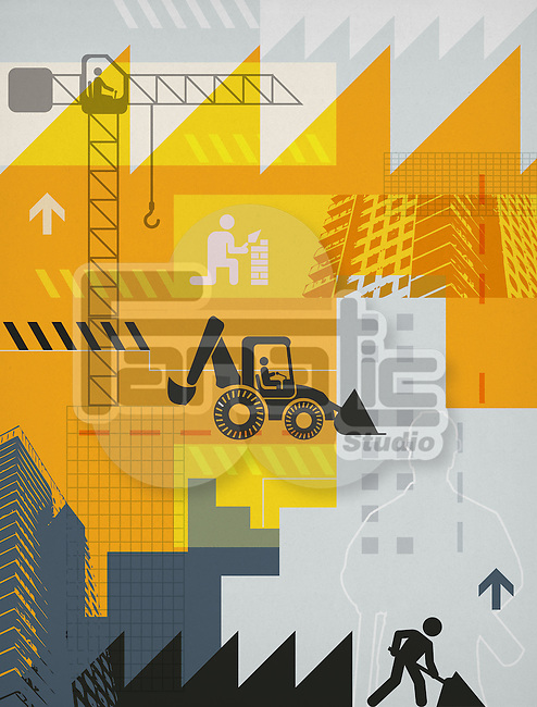 Illustrative representation showing construction industry