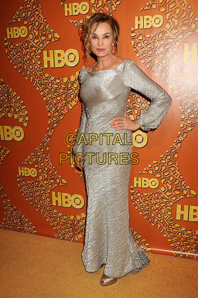 JESSICA LANGE.HBO's 2010 67th Golden Globe Awards Post Party held at the Beverly Hilton Hotel, Beverly Hills, California, USA. .January 17th, 2009 .globes full length silver grey gray long sleeves maxi dress hand on hip .CAP/ADM/BP.©Byron Purvis/Admedia/Capital Pictures