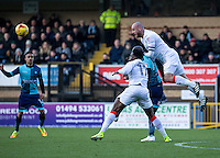Scott Cuthbert of Luton Town heads clear during the Sky Bet League 2 match between Wycombe Wanderers and Luton Town at Adams Park, High Wycombe, England on the 21st January 2017. Photo by Liam McAvoy.