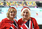 Two british fans get ready for the match. Rubber 1. World group II play off in the BNP Paribas Fed Cup. Copper Box arena. Queen Elizabeth Olympic Park. Stratford. London. UK. 20/04/2019. ~ MANDATORY Credit Garry Bowden/Sportinpictures - NO UNAUTHORISED USE - 07837 394578