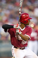 Indiana Hoosiers outfielder Justin Cureton (22) at bat against the Oregon State Beavers during Game 9 of the 2013 Men's College World Series  on June 19, 2013 at TD Ameritrade Park in Omaha, Nebraska. The Beavers defeated the Hoosiers 1-0, eliminating Indiana from the tournament. (Andrew Woolley/Four Seam Images)