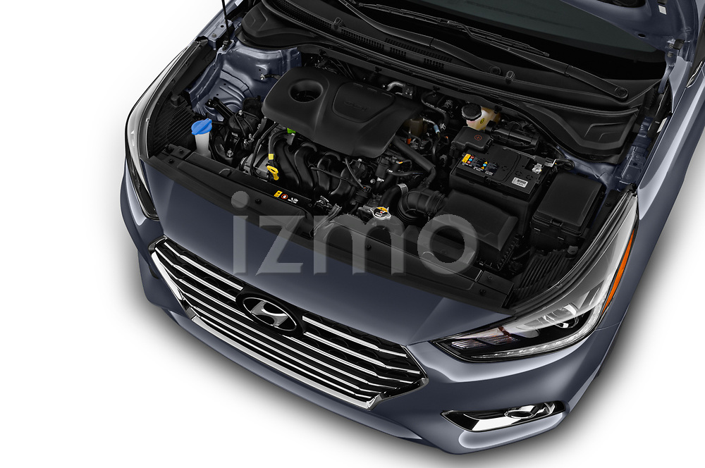 Car stock 2018 Hyundai Accent Limited 4 Door Sedan engine high angle detail view