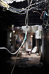 Electricity cables hang loose in the palestinian camp of Burj El Barajneh, south of Beirut, Lebanon<br /> <br /> Dans le d&eacute;dales des ruelles du camp palestinien de Burj El Barajneh, au sud de Beyrouth