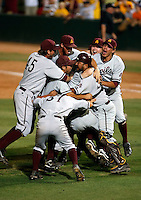 The Arizona State Sun Devils celebrate after defeating the Clemson Tigers  in the NCAA Super Regional Tournament  at Packard Stadium, Tempe, AZ - 06/07/2009.Photo by:  Bill Mitchell/Four Seam Images