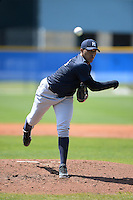 Pitcher Jose Campos (76) of the New York Yankees organization during a minor league spring training game against the Toronto Blue Jays on March 16, 2014 at the Englebert Minor League Complex in Dunedin, Florida.  (Mike Janes/Four Seam Images)
